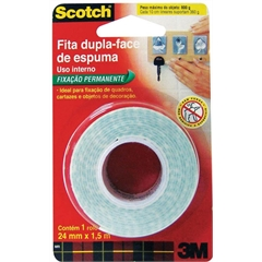 Dupla Face Fixa Espuma 3M Scotch 5m x 12mm - J2506